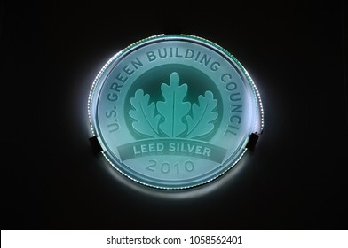 San Diego, California - January 14, 2018: Sign of U.S. Green Building Council Leed Silver seen inside Reuben H. Fleet Science Center.