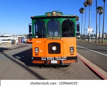 San Diego, California, January, 22, 2016  San Diego California Trolly Car against a blue sky background