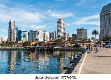 SAN DIEGO, CALIFORNIA - JANUARY 8, 2017:  Downtown skyline as seen from Seaport Village, an entertainment, shopping and restaurant complex on the waterfront.