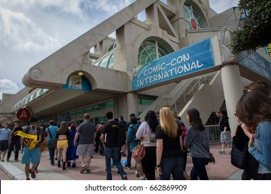 SAN DIEGO, CALIFORNIA - JULY 11 2015: Fans line up to enter San Diego Comic-Con, the annual massive gathering of comic book and pop culture fans.