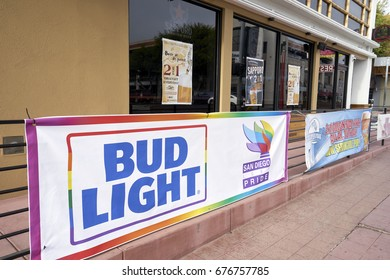 SAN DIEGO, CALIFORNIA - JULY 13, 2017: local businesses are getting ready to welcome visitors and residents for the annual LGBT Pride Parade