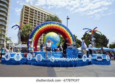 SAN DIEGO, CALIFORNIA - JULY 15, 2017: annual LGBT Gay Pride Parade and Festival in Hillcrest featuring local corporate sponsors, celebrities, local residents and visitors