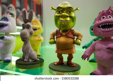 SAN DIEGO, CALIFORNIA - JULY 7, 2010: Funko releases Metallic Shrek Bobble Head exclusively for Comic Con, a character voiced by Mike Myers