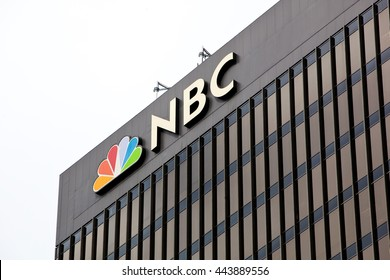 SAN DIEGO, CALIFORNIA - JUNE 24, 2016: View of the roofline of the NBC building on June 24, 2016 in downtown San Diego.