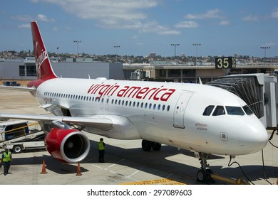 SAN DIEGO, CALIFORNIA - JUNE 5, 2015: Virgin America is a United States-based airline that began service on August 8, 2007. Virgin America was the brainchild of Sir Richard Branson.