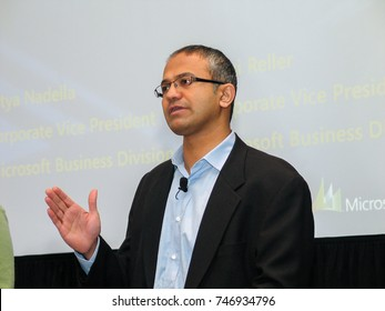 SAN DIEGO, CALIFORNIA - MARCH 12, 2007: Microsoft Vice-President of Business Solutions Satya Nadella delivers an address to Microsoft Convergence conference on March 12, 2007 in San Diego, California