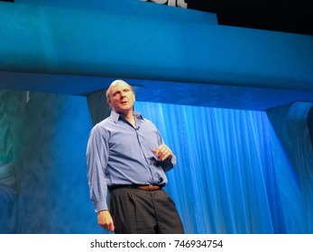 SAN DIEGO, CALIFORNIA - MARCH 15, 2007: Microsoft CEO Steve Ballmer delivers an address to Microsoft Convergence conference on March 15, 2007 in San Diego, California.