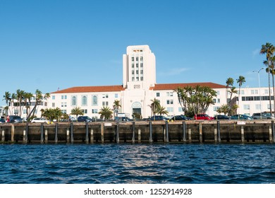 SAN DIEGO, CALIFORNIA - MARCH 2, 2017:  The County Administration Building as seen from San Diego Bay.