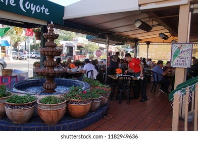 SAN DIEGO, CALIFORNIA - NOV 26, 2017 - Diners in a Mexican restaurant, Old Town, San Diego, California