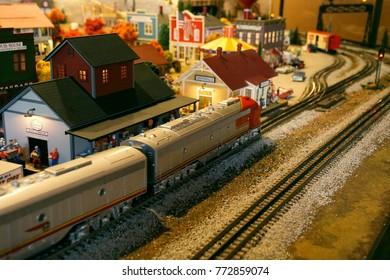 SAN DIEGO, CALIFORNIA - NOV 26, 2017 - Model railroad layout display, Old Town, San Diego, California