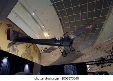 SAN DIEGO, CALIFORNIA - NOV 27, 2017 - Deperdussin 1911 monoplane Air and Space Museum at Balboa Park in San Diego, California