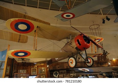 SAN DIEGO, CALIFORNIA - NOV 27, 2017 - SPAD VII biplane, World War IAir and Space Museum at Balboa Park in San Diego, California