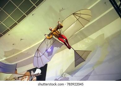SAN DIEGO, CALIFORNIA - NOV 27, 2017 - Model  of Leonardo da Vinci's flying machine, Air and Space Museum at Balboa Park in San Diego, California