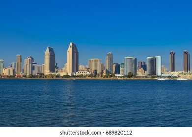 SAN DIEGO, CALIFORNIA - NOVEMBER 01, 2014 -  Downtown San Diego, California, city skyline, as seen from Coronado Island.