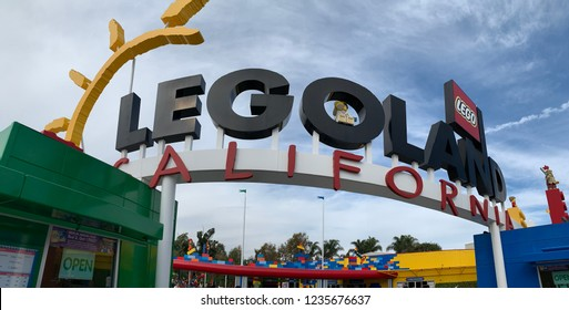 San Diego, California - November 19, 2018. The front entrance of Legoland California Amusement Park in Carlsbad, San Diego. A popular destination for families with young children.