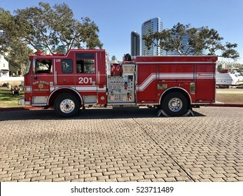 San Diego, California, November, 25, 2016    City Firetruck ready for service at a downtown park