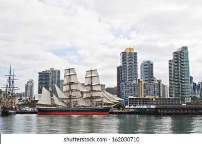 "SAN DIEGO, CALIFORNIA - NOVEMBER 3: ""Star of India"" - the world's oldest active sailing ship of Maritime Museum ship on November 3, 2013 in Downtown San Diego, California, USA."