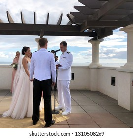 San Diego, California, October, 13, 2018  Bride and Groom exchange vows at a Military wedding