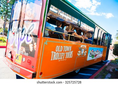 SAN DIEGO, CALIFORNIA - SEPT Trolley tours in Balboa Park, San  Diego, California, as seen on September 18, 2015.