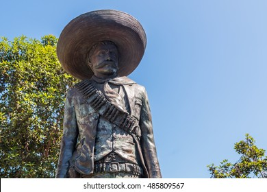 SAN DIEGO, CALIFORNIA - SEPTEMBER 10, 2016: Chicano Park statue of General Emiliano Zapata in the Barrio Logan neighborhood.  Zapata was a leading figure in the Mexican Revolution of 1910-1920.
