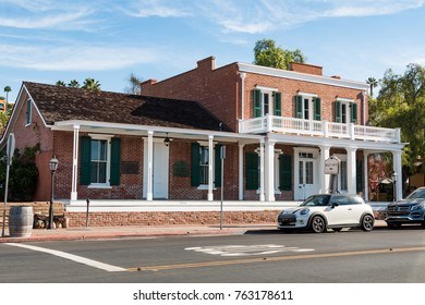SAN DIEGO, CALIFORNIA - SEPTEMBER 19, 2017:  The Whaley House, built in 1857 in historic Old Town.  It was the site of San Diego's first commercial theater, a general store and the second courthouse.