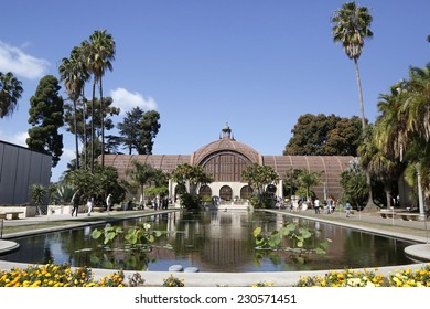 SAN DIEGO, CALIFORNIA - SEPTEMBER 28:  Botanical Building with the Lily Pond and Lagoon at Balboa Park in San Diego on September 28, 2014.