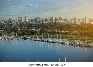 San Diego California, showing a beautiful skyline, with Coronado Island in Foreground.