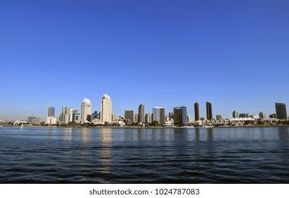 The San Diego, California skyline from San Diego Bay.