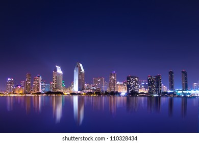 San Diego California skyline at night