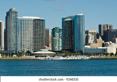 San Diego, California skyline as seen from the bay. The Marriott Hotel and Marina are in the center of this photograph.
