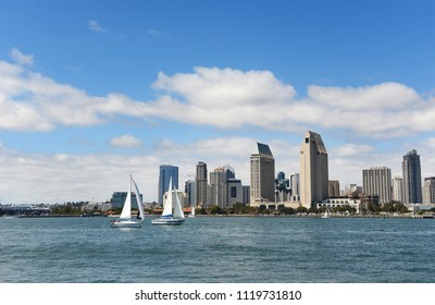 San Diego, California skyline view with blue skies and sailboats