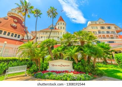 San Diego, California, United States - August 1, 2018: entrance of Hotel del Coronado in 1888, a historic beachfront hotel in Coronado Island. The wooden Victorian resort is National Historic Landmark