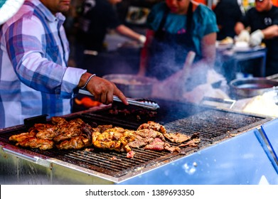 San Diego, California / United States - 05-05-2019: Cinco De Mayo in Old Town - Grilled Chicken & Carne Asada