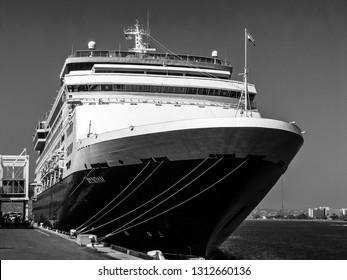 SAN DIEGO, CALIFORNIA, US - MARCH 14, 2007: Cruise ship Ryndam at quay of port in San Diego California, US on March 14, 2007.