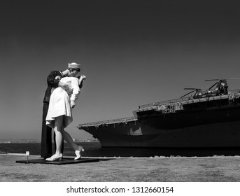 SAN DIEGO, CALIFORNIA, US - MARCH 15, 2007: Sculpture of kissing seaman and girl based on famous World War II photo at aircraft carrier Nimitz museum in San Diego California, US on March 15, 2007.
