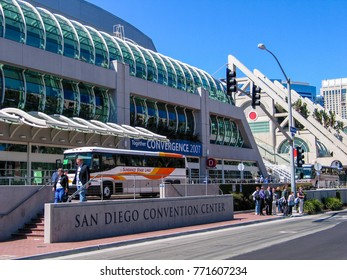 SAN DIEGO, CALIFORNIA, US - MARCH 13, 2007: People outside the San Diego Convention Center in San Diego California, US on March 13, 2007. It is located at downtown San Diego near the Gaslamp Quarter.