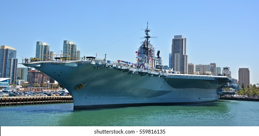 SAN DIEGO, CALIFORNIA USA 04 8 2015: USS Midway was an aircraft carrier of the United States Navy, the lead ship of its class. Commissioned a week after the end of World War II it is now a museum ship