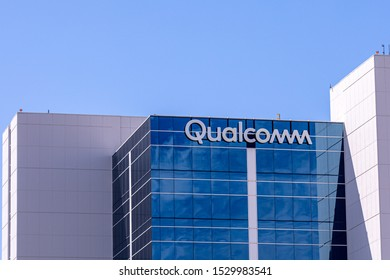 San Diego, California \ USA - 06 September 2019: Sign and logo of Qualcomm company on a side of a building