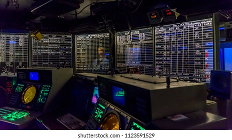 San Diego, California, USA. 12. 30. 2017. Decommissioned Aircraft Carrier. USS Midway. Inside of the Operations Room.