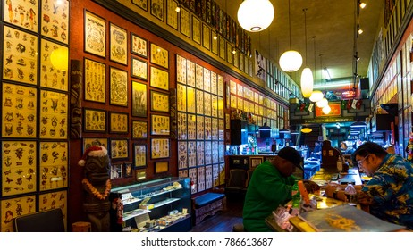 San Diego, California, USA. 12. 29. 2017. Inside of the 2nd oldest tattoo shop in USA. Tahiti Felix's Master Tattoo and Museum.  924 Fifth Ave, San Diego, CA 92101