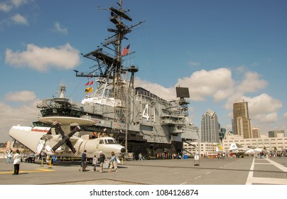 SAN DIEGO, CALIFORNIA, USA - APRIL 2009: Flight deck of the ircraft carrier USS Midway, which is now a floating museum at the city's Navy Pier