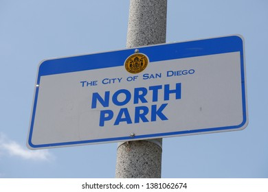 San Diego, California, USA. April 20, 2019. Sign when entering North Park in San Diego California