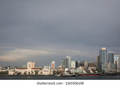San Diego, California, USA – August 2, 2017: Panoramic view of San Diego skyline with the Maritime Museum and the San Diego County Administration Center building from the North Bay
