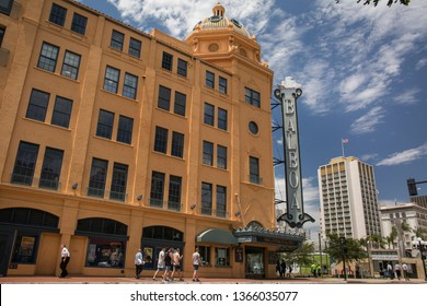 San Diego, California, USA – August 1, 2017: Horizontal shot of the Balboa theatre façade and retro sign with some passers-by, 4th Ave, Gaslamp Quarter