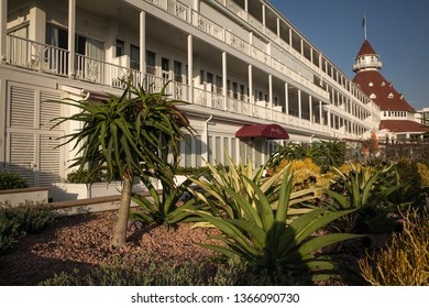 "San Diego, California, USA – August 1, 2017: Diagonal shot of the luxury Hotel del Coronado back façade and garden, where many movies including ""Some like it hot"" were filmed, Coronado Island"