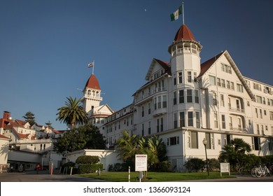 "San Diego, California, USA – August 1, 2017: Horizontal evening shot of a part of the luxury Hotel del Coronado façade, where many movies including ""Some like it hot"" were filmed, Coronado Island"