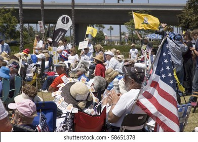 SAN DIEGO, CALIFORNIA, USA - AUGUST 7:  Crowd at a Doctor's Tea Party Rally at Spanish Landing in San Diego, CA on Saturday August 7, 2010.