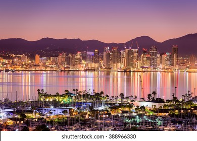 San Diego, California, USA cityscape over the bay.