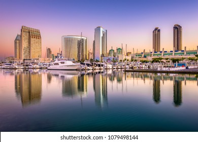San Diego, California, USA downtown cityscape from the marina at dusk.