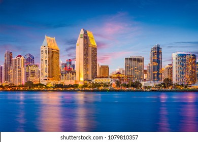 San Diego, California, USA downtown cityscape at twilight.